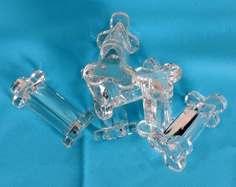 A set of 6 vintage french glass knife rests