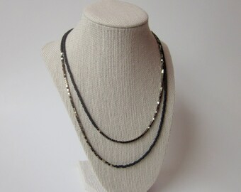 Polished Pyrite and Matte Black Necklace/Long beaded necklace/38 inch necklace