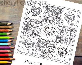 Printable Coloring Page - Quilt: Hearts & Nine-Patches - Cheryl Casey Art - Digistamp, Digital Stamp