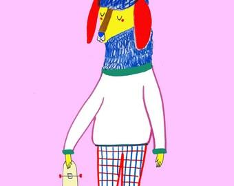 Poodle Skateboarder. illustration art print for kids and nursery children's illustration.