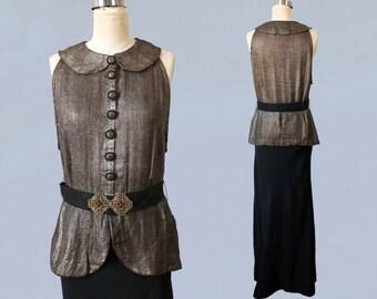 1930s Gown / 30s Metallic Gold Lame and Black Crepe Evening Dress / AMAZING / Metal Fibers / Rare M L