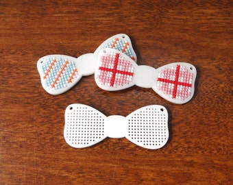 Bow Tie Cross Stitch Pendant blank in white - stitch your own design!