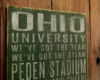 Ohio University Bobcats Distressed Wood Sign-Great Father's Day Gift!