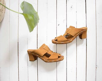 Vintage Leather Mules 5.5 / Platform Mules / High Heel Mules / Strappy Sandals / Italian Leather Mules
