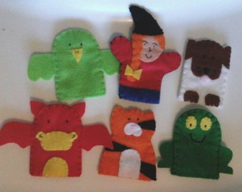 Room on the broom finger puppet set, story inspired, toys, witch, animals, dragon, puppets, learning aid, teaching resource, imaginative
