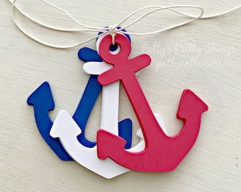 Anchor Die Cuts, Anchor Tags, Patriotic Anchors, 4th of July Decor, July 4th Decorations, Paper Anchors, Anchor Cut Outs, 24 Ct.