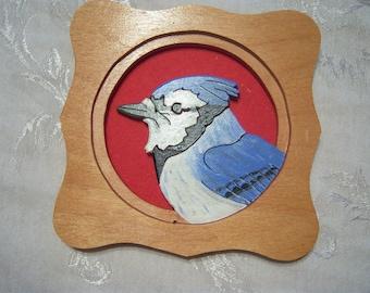 Framed Wooden Blue Jay wall decoration