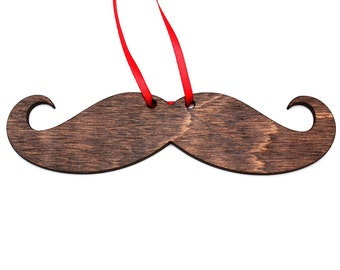 Wood Mustache Ornament