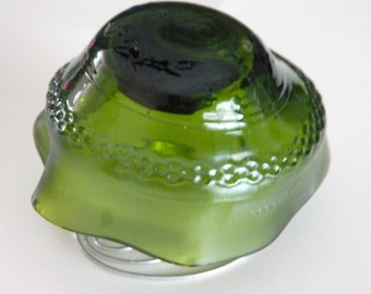 Fairy Garden Mushroom Yard Art or Tealight Candle holder Green Upcycled wine bottle
