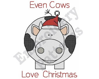 Even Cows Love Christmas - Machine Embroidery Design, Cross Stitch Embroidery