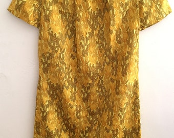 Vintage Early 1960s handmade golden silk dress