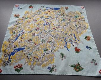 1950s Map of Switzerland - Large Swiss Souvenir Tourist Cotton Hankie, Small Scarf or Bandana