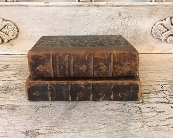 Small Antique Brown Leather Book Stack - Rustic Home Decor - Beautiful Marbled Covers