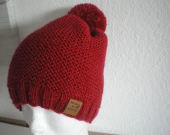 Women red wool hat handmade in ALSACE