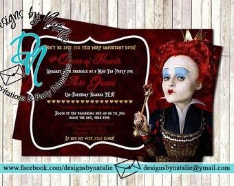 Queen of Hearts Invitation (Alice in Wonderland)