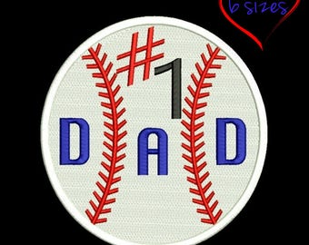 Baseball ball machine embroidery Design Number 1 Dad designs pes files in the hoop