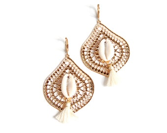 Shaman - big earrings gold and beige ethnic-inspired with cowrie shells