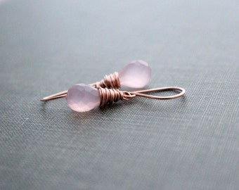 Rose Quartz Dangle Earrings , Rose Gold Wrapped Gemstone Drop Earrings , Gold or Silver -  Sweetcakes