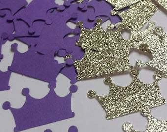 Gold Purple Princess Crown Tiara glitter birthday party confetti 100 count Lots of color choices Table decor