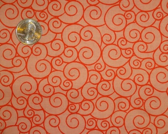 "Pink Peach Orange Swirls Curlicues Cotton Quilting Fabric 1 yard + 32"" inches"