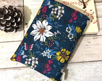 Exotic Floral Book Sleeve, Small Medium Large Book Pouch, Hardback Book Gift, Bookish Accessory, Padded Book Cover, Blue Botanical Book Bag