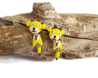 Yellow lion earrings