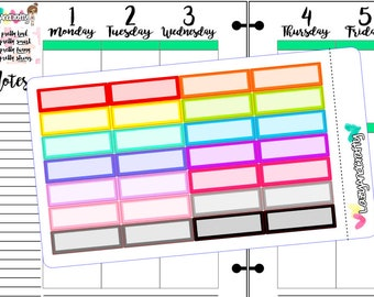 Blank quarter box - Choice of color - Planner Stickers for Happy Planner, Erin Condren, Filofax, and much more!