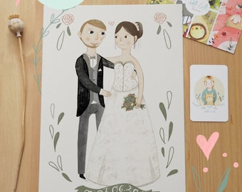 Custom Wedding Portrait | Valentine's Day |  Wedding Anniversary | Couple | Love | special gift | Print
