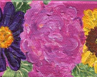 Flowers mini canvas original mini canvas art, Easel, acrylic painting 2 x 4 Small Farmhouse decor