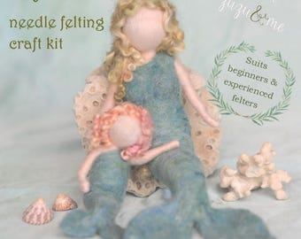 DIY Mermaid needle felting craft kit - comprehensive photo tutorial and gorgeous materials
