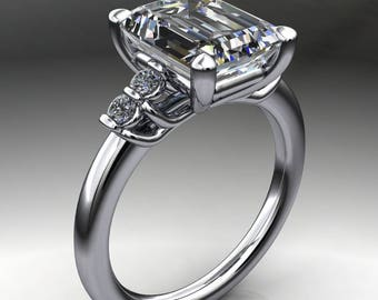 dallas ring – 3.5 carat emerald cut NEO moissanite engagement ring