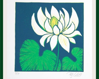 linocut, Waterlily, spring time, green and blue, printmaking, flower print, modern decor, modern art, nature print, pond, lily