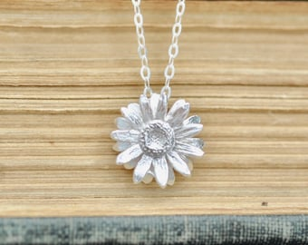 Sunflower Necklace in Sterling Silver 925, Flower Necklace, Sunflower Jewelry, Flower Pendant, Flower Charm, Jamber Jewels