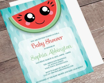 Watermelon Baby Shower Invitations Girl - Smiling Watermelon Slice Kawaii - red green turquoise- Watermelon Shower - Printed Invitations