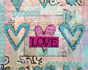 "Original Mixed Media on 9x12 Canvas Panel - Painting Home Decor Artwork - Folk Art - ""Love Hearts"""
