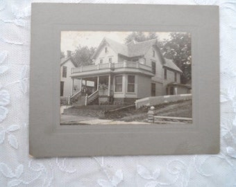 OLD- Real Picture- Photo-Photograph of Large Two Story House - Home-Classic Old Time Picture-Home is Where the Heart Is-Old Queen Anne Style