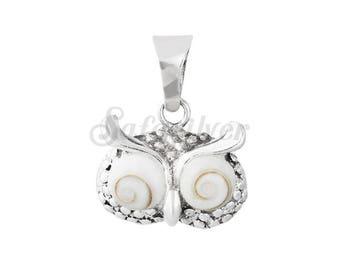 Owl Silver Pendant Made With Shiva Eye Gem Stone