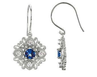 White Gold Diamond & Sapphire Earrings / 14K SOLID Gold Sapphire Earrings