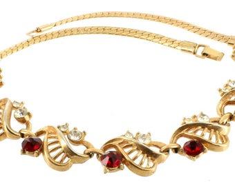 "Vintage  Red & Crystal Rhinestone Gold Serpentine Chain Necklace LIisner? 15"""