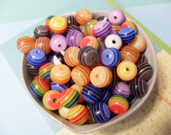 40x 12mm Resin Multi color stripe Globe beads .. transparent
