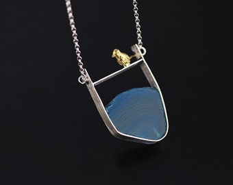 Blue Water Ripple Necklace Bird Charm Agate Slice Frame Necklace 18K Gold-plated Handmade Silver Unique Gift For Women