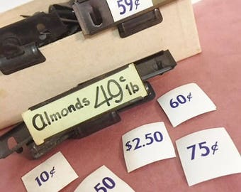 Vintage Store Price Tag Holders and Price Tags  Grocery Store Shelf Clips and Small Price Tags