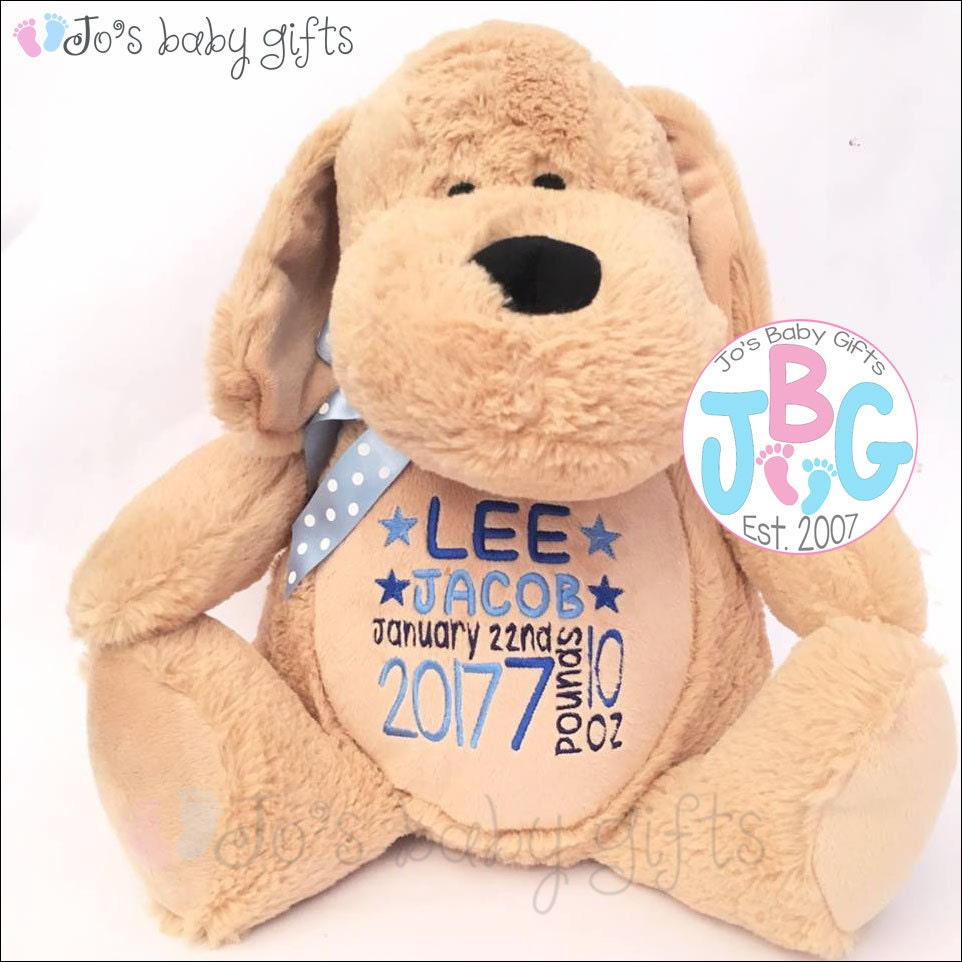 Personalised dog teddy bear custom teddy embroidered bears new personalised dog teddy bear custom teddy embroidered bears new baby gift baby shower christening gifts negle Choice Image