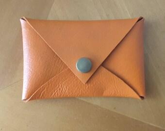 Handmade Orange Leather Card Case
