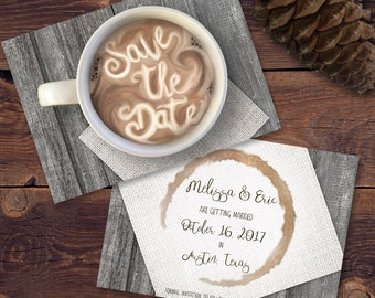Coffee Cup/Hot Chocolate Printable Save the Date Card