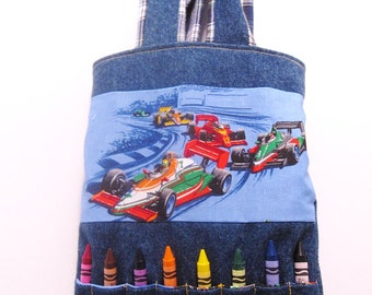 Handmade Kids Crayon Tote recycled denim Toys Children Gifts