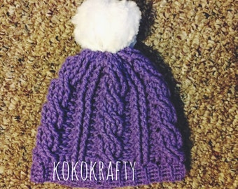 Crochet Cable Hat/Cable Beanie/Fur PomPom Hat/ Cable Pom Pom Beanie