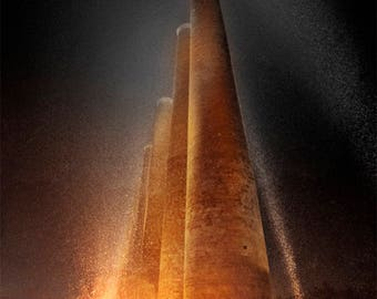 Homestead Steel Mill Smokestacks Photo, black, gold, and orange, fine photography prints, Echoes of Steel