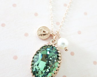 Erinite Green Crystal rose gold necklace, Swarovski Crystal Oval Stone pendant vintage style bridesmaid necklace