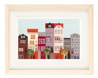 BROOKLYN, NEW YORK - 5 x 7 Colorful Illustration Art Print, Red, Brown, Wall Decor